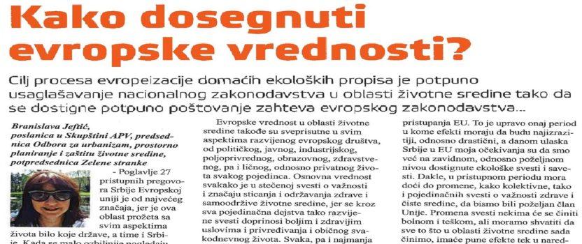 """Izjava zamenice predsednika Zelene stranke za časopis """"Ekolist"""""""