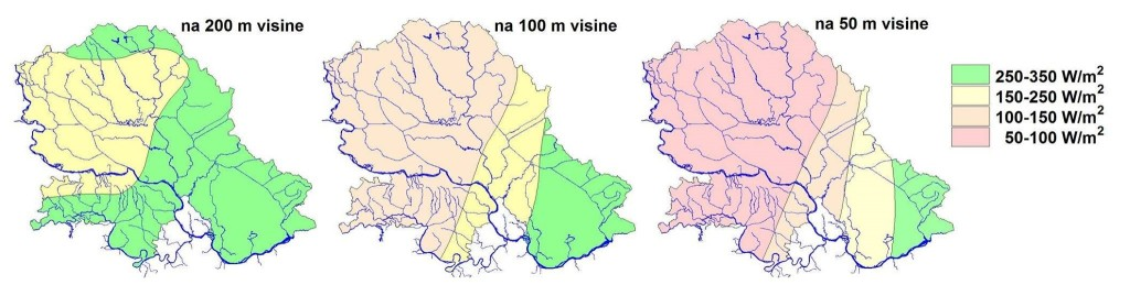 Gustina snage vetra za Vojvodinu u zavisnosti od nadmorske visine