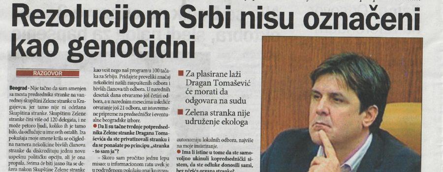 """Intervju predsednika Zelene stranke u dnevnom listu """"Danas"""""""