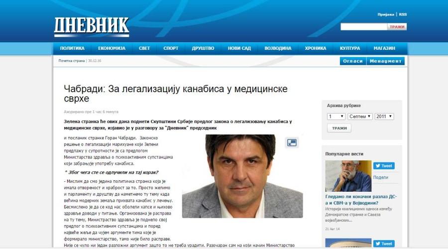Intervju za novosadski Dnevnik – Čabradi: Za legalizaciju kanabisa u medicinske svrhe