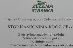 Inicijativa GO Zelene stranke Zrenjanin: Stop kamionima kroz grad!